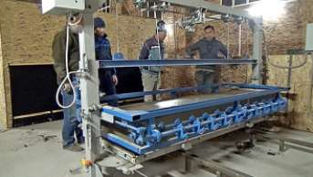 Запуск линии конвейерного типа - резка газобетона